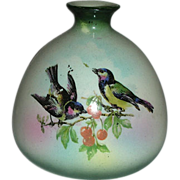 Bulb shaped two yellow breasted black  bird vase w/ mark