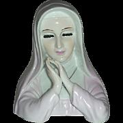 Praying nun head  planter in pink habit