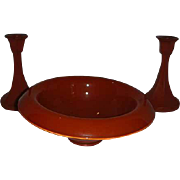 Orange Art Deco console glass bowl candlestick set