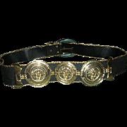 SALE Black gold belt with Concho trim