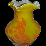 SALE Beautiful  Cased glass yellow orange splash bubble vase