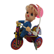 SALE Vintage tin litho wind up toy boy on   tricycle w/tag