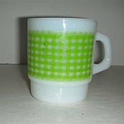 Fire King Green gingham Anchor Hocking Mug