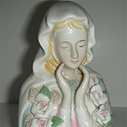 SOLD Ceramic white roses Madonna Mary w/ soft colors and gentle hands