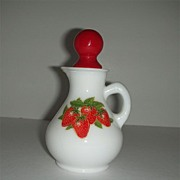 Avon strawberry & cream milk glass cruet