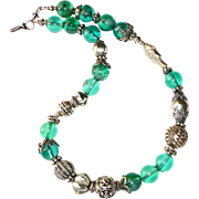 REDUCED Green Obsidian and Vintage Silver Necklace