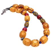 SALE Ethiopian African Singed Amber. Cornaline D'Aleppo, African Millefiori Glass Necklace