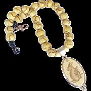 SOLD Etched Bone Rabbit Pendant, Sponge Coral Necklace