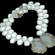 Antique Sterling Silver Buckle, Quartz Necklace