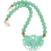 REDUCED Green Jade Butterfly, Green Aventurine Necklace