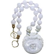Lavender Blue Jade Dragon, Burmese Jade Necklace
