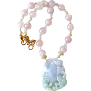 Green and Lavender Jade Double Dragon with Pink Rose Quartz Necklace