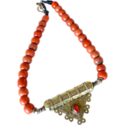 REDUCED Vintage Indian Brass and Silver and Vintage Indian Coral Glass Necklace