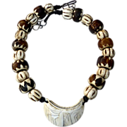 REDUCED Antique Indonesian Conus Shell, Kenyan Batik Bead Necklace