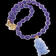 REDUCED Lavender Jade Fish, Amethyst Necklace