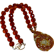 Carved Natural Jade Dragon and Bat with Faceted Baltic Amber Necklace
