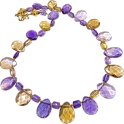 REDUCED Faceted Ametrine Tear Drop Necklace