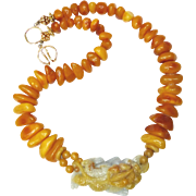 Golden Jade Dragon and Baltic Butter Amber Necklace