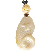 SALE Carved White Serpentine Fish, White Jade Pendant Necklace
