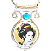 REDUCED Vintage Japanese Porcelain Lady and Silver Chain Pendant Necklace