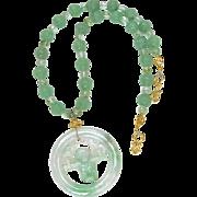 Green Jadeite Swinging Monkey, Carved Green Aventurine Necklace