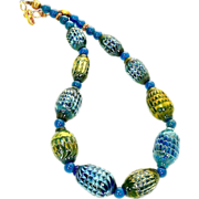 SALE One of a Kind Hand Blown Glass Bead Necklace