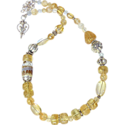 REDUCED Golden Citrine, Glass Lamp Work and Silver Necklace