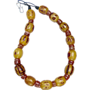 SALE Vintage Ethiopian African Singed Amber, Old Raw Jasper Necklace
