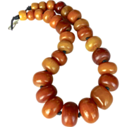 SOLD Antique African Mali Amber Necklace