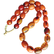 REDUCED Antique African Ethiopian Singed Amber Necklace