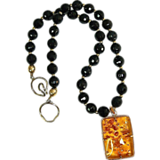 Vintage Baltic Amber and 14K Rose Gold and Faceted Black Onyx Necklace