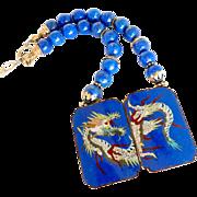 Antique Chinese Cloisonne Buckle, Lapis Necklace