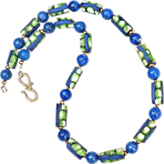 Vintage African Tribal Glass, Lapis Necklace