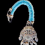 SALE Vintage Chinese Silver Bat Pendant, Ethiopian Turquoise Vintage Tribal Glass