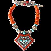 SALE Antique Tibetan Gau Box, Old Tibetan Glass, Turquoise Necklace
