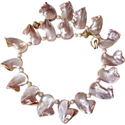 SALE Natural Pink Mother of Pearl Nugget Petals Necklace
