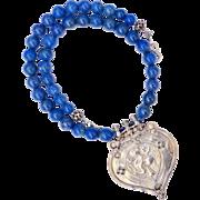 SALE Antique Indian Silver Amulet Hanuman Pendant, Blue Lapis Necklace