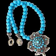 SALE Indian Turquoise Gau, Enhanced Turquoise Necklace