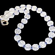 SALE Cracked Crystal, Faceted Blue Swarovski Crystal Necklace