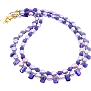SALE Lavender Rice Pearls, Cubic Zirconia, Faceted Amethyst Necklace