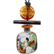 Antique Qing Dynasty Porcelain Shard, Carnelian Pendant Necklace