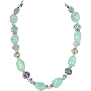 SALE Green and Lavender Fluorite Nugget Necklace