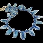 SALE Blue Kyanite Fancy Drop Petal Necklace