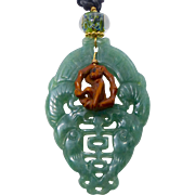 REDUCED Carved Green Aventurine Double Phoenix, Boxwood Monkey on a Swing Pendant Necklace
