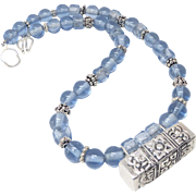 SALE Indonesian Silver, Indonesian Blue Glass Necklace