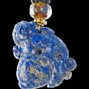 SALE Lapis Dragon, Lamp Work Glass Pendant Necklace