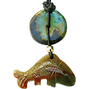 SALE Carved Serpentine Fish with Chinese Turquoise Pendant Necklace