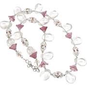 SALE Crystal drops, Vintage Italian Silvered Glass Rose Beads, Pink Tulip Bead Necklace