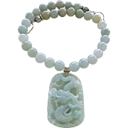 Carved Natural Green Jade Dragon Pendant with Burmese Jade Necklace