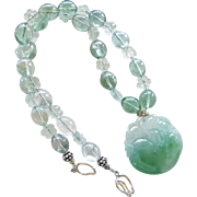 Carved Green Jade Mouse on a Peach, Green Fluorite Necklace